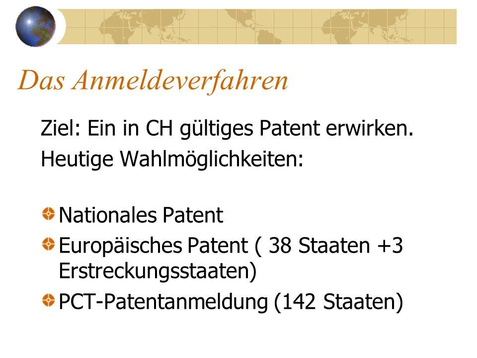 Das Anmeldeverfahren Ziel: Ein in CH gültiges Patent erwirken.