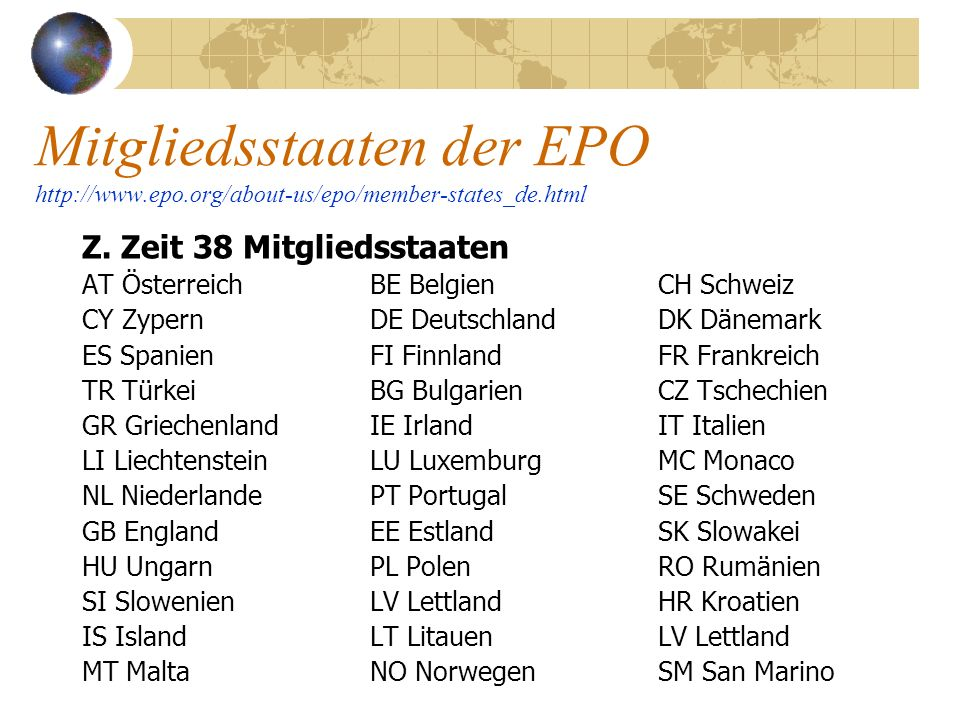 Mitgliedsstaaten der EPO http://www. epo