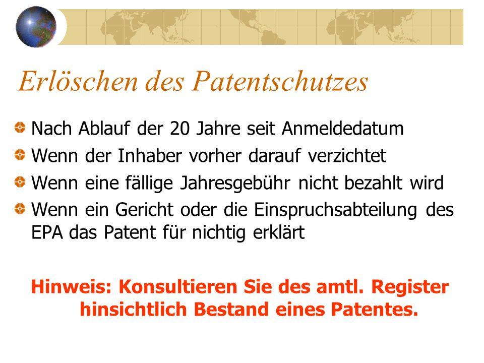Erlöschen des Patentschutzes