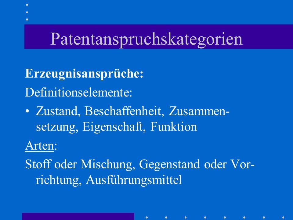 Patentanspruchskategorien