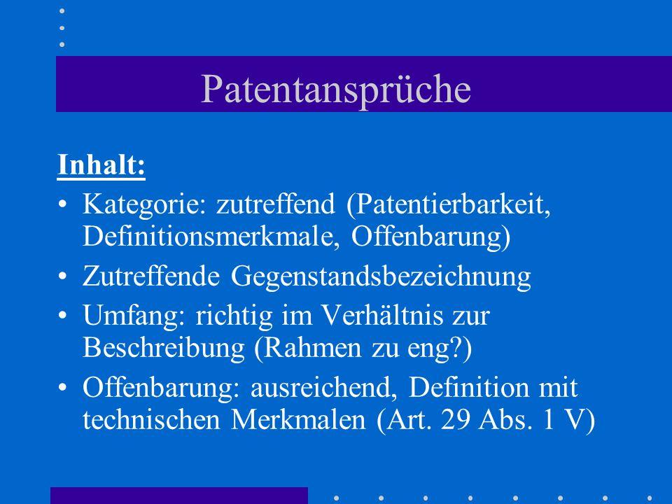 Patentansprüche Inhalt: