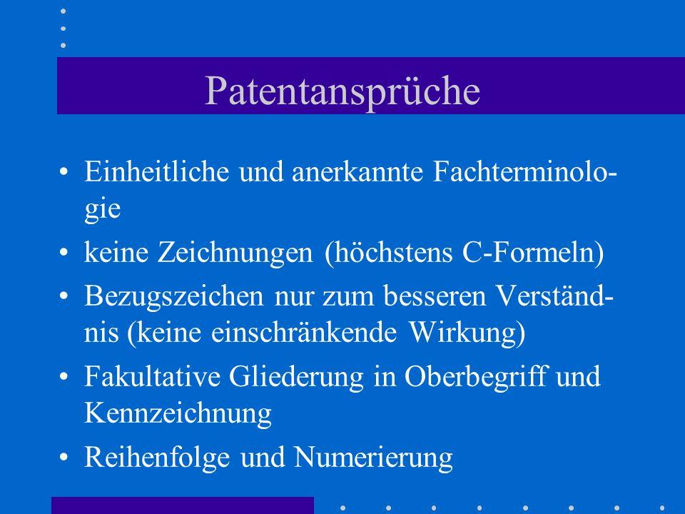 Patentansprüche Einheitliche und anerkannte Fachterminolo-gie