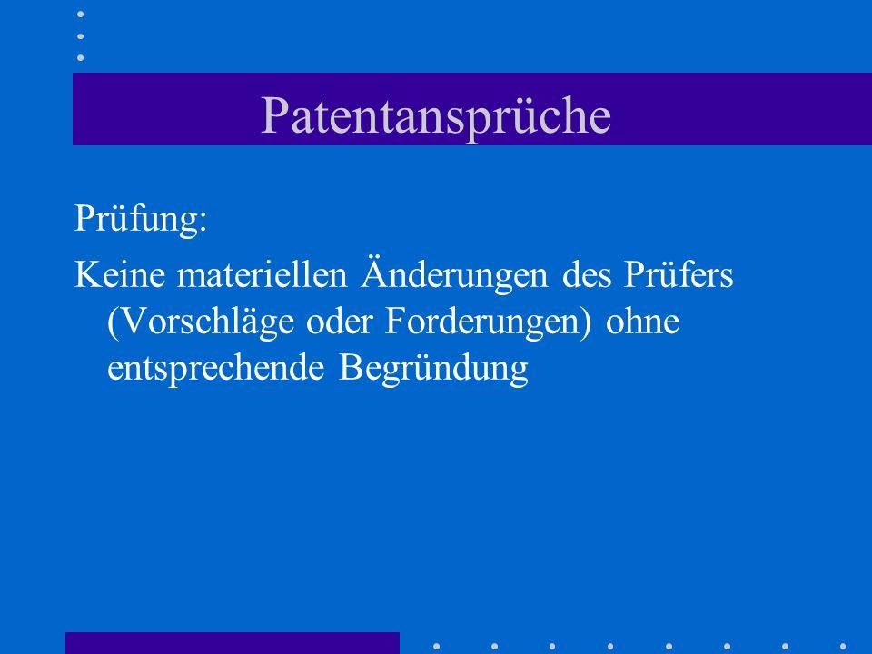Patentansprüche Prüfung: