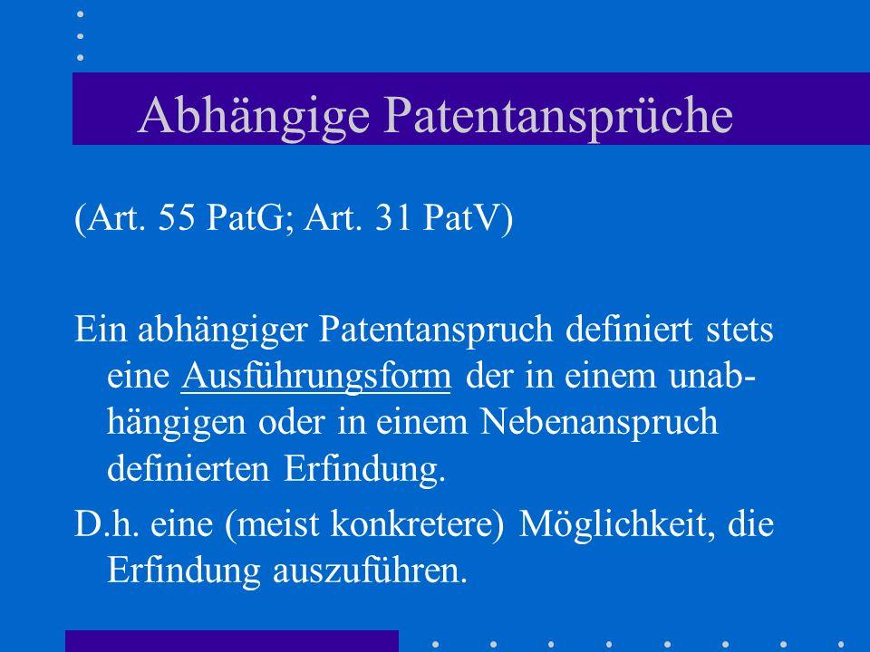 Abhängige Patentansprüche