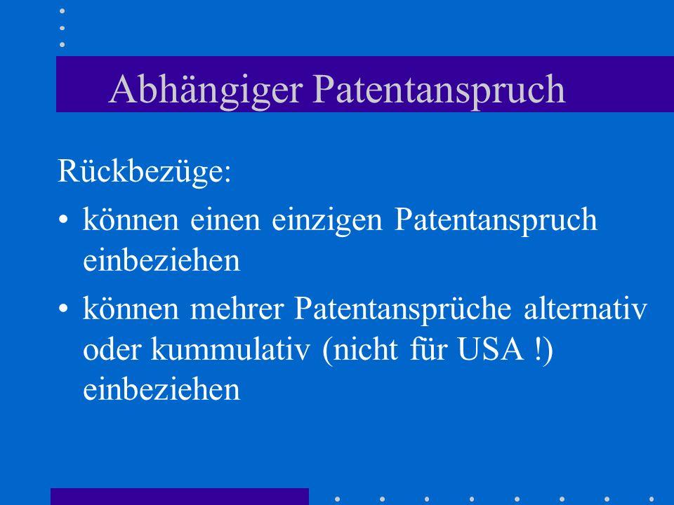Abhängiger Patentanspruch