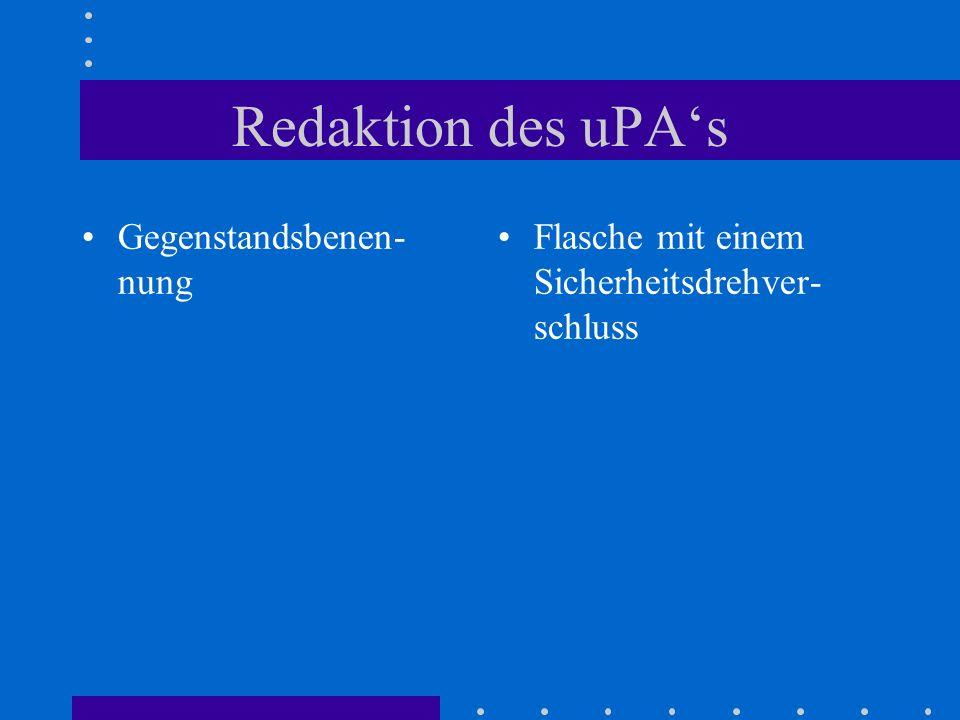 Redaktion des uPA's Gegenstandsbenen-nung