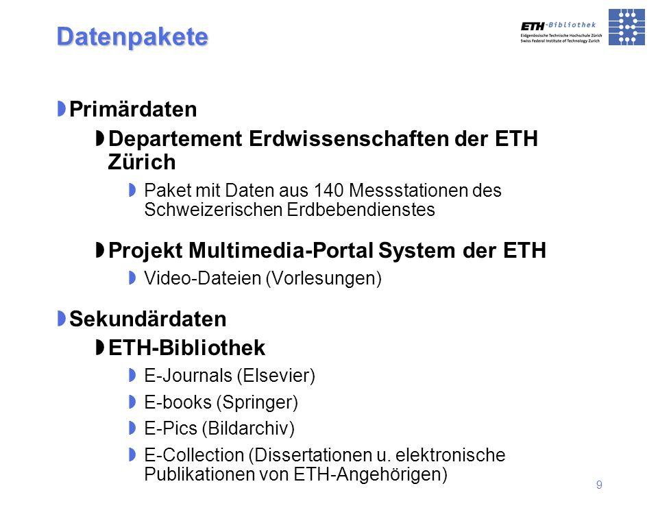Datenpakete Primärdaten Departement Erdwissenschaften der ETH Zürich