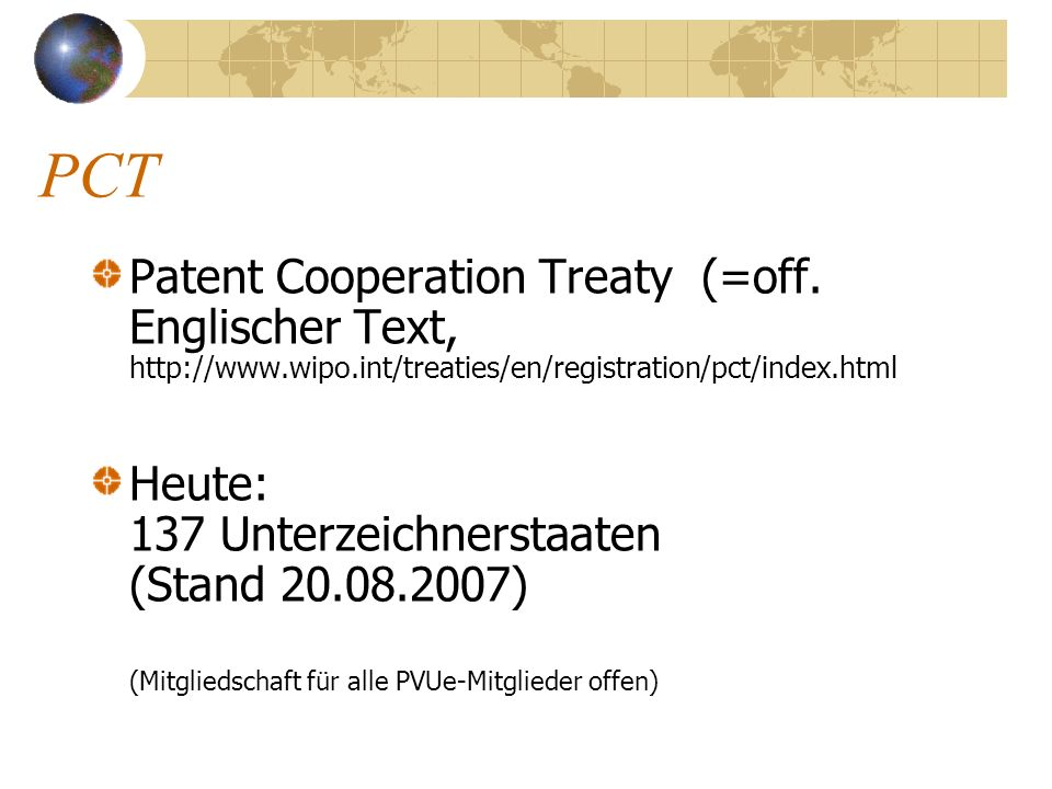 PCT Patent Cooperation Treaty (=off. Englischer Text,