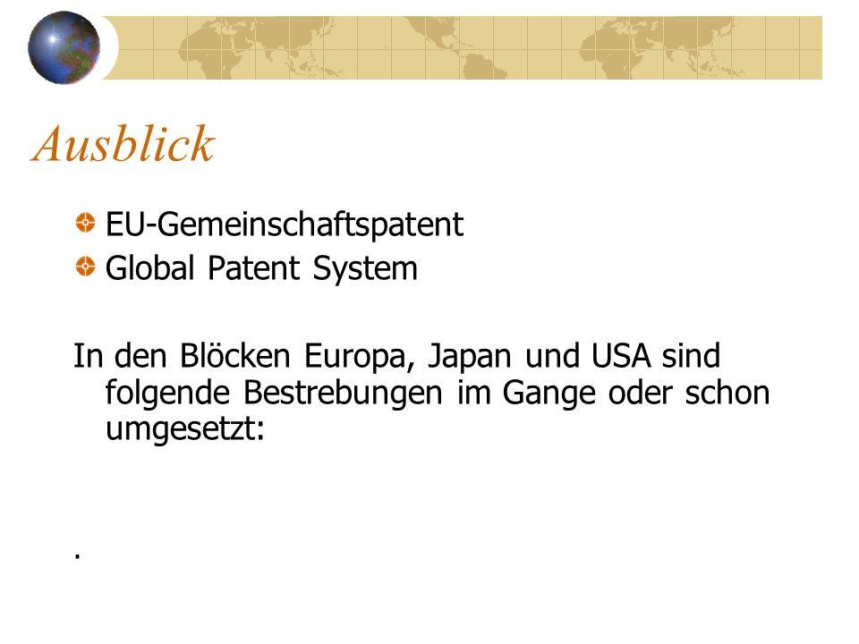 Ausblick EU-Gemeinschaftspatent Global Patent System