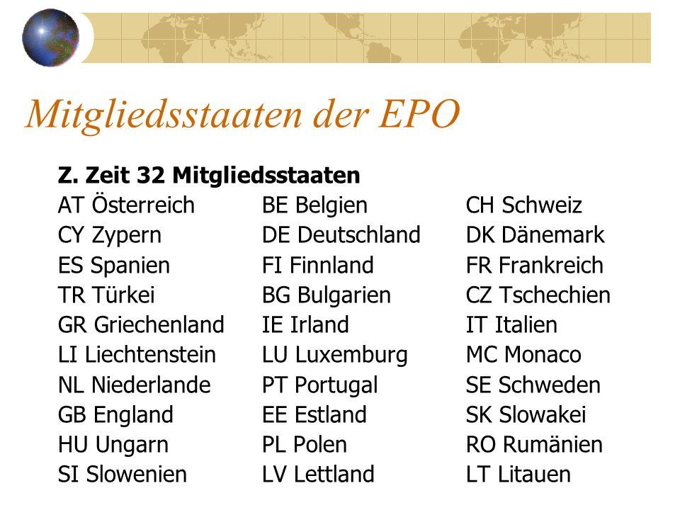Mitgliedsstaaten der EPO