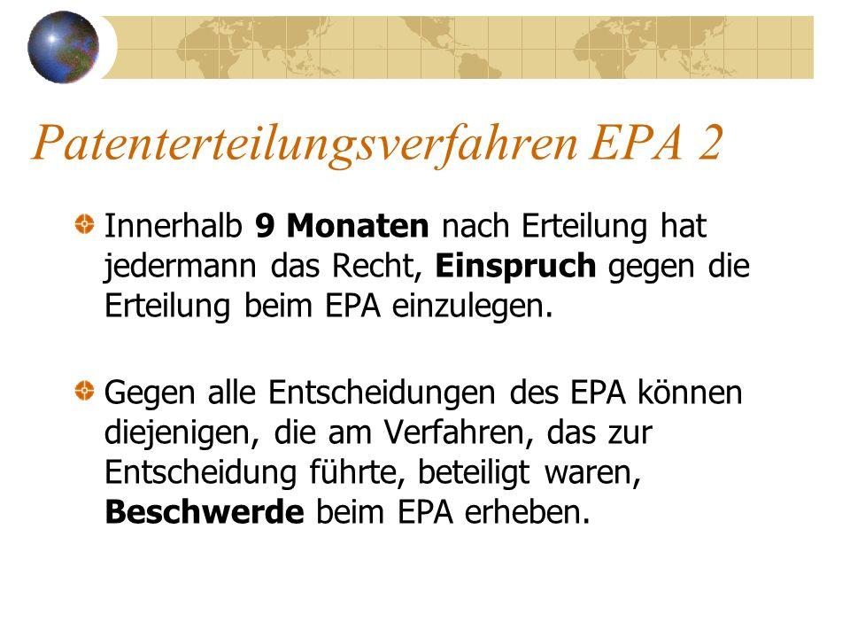 Patenterteilungsverfahren EPA 2