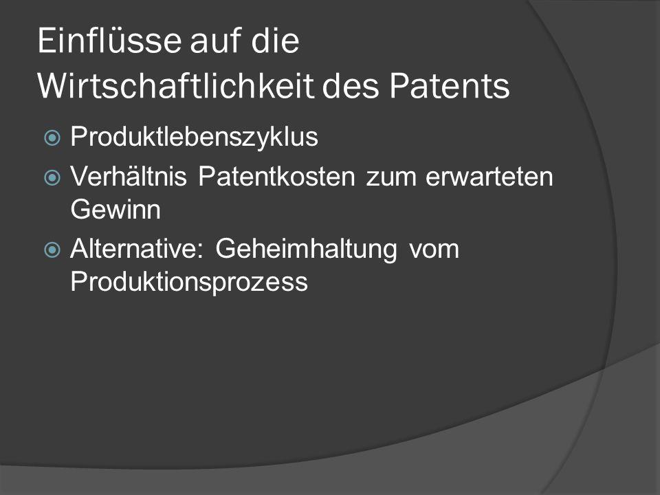 Einflüsse auf die Wirtschaftlichkeit des Patents