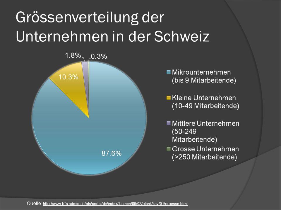 Grössenverteilung der Unternehmen in der Schweiz