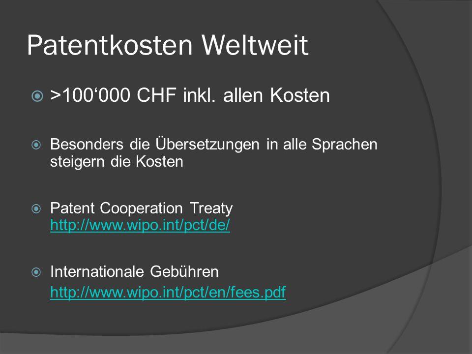 Patentkosten Weltweit