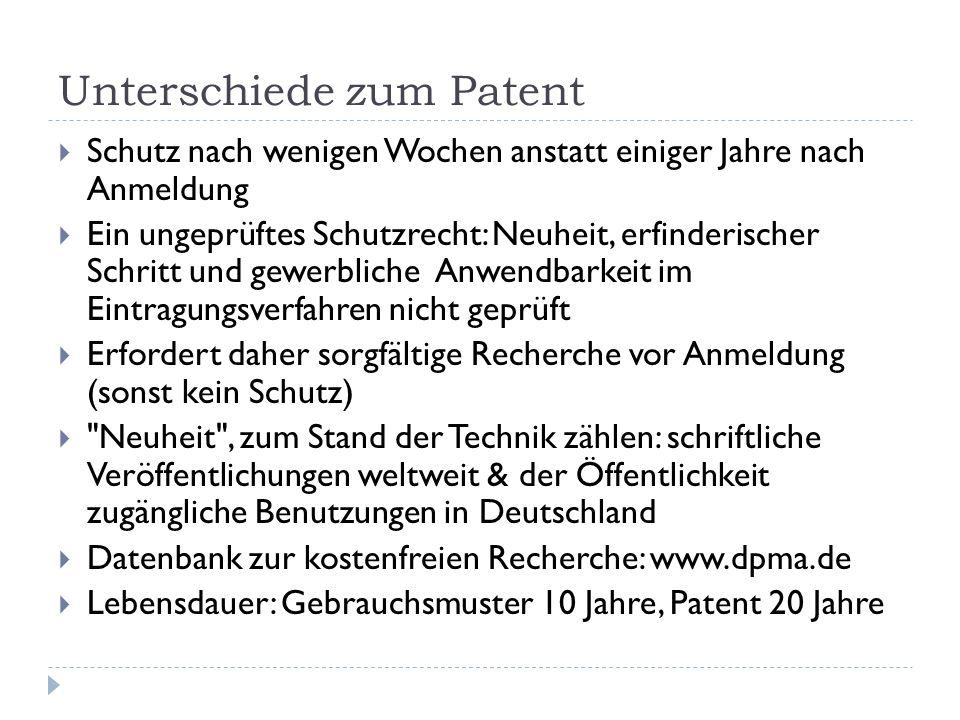 Unterschiede zum Patent