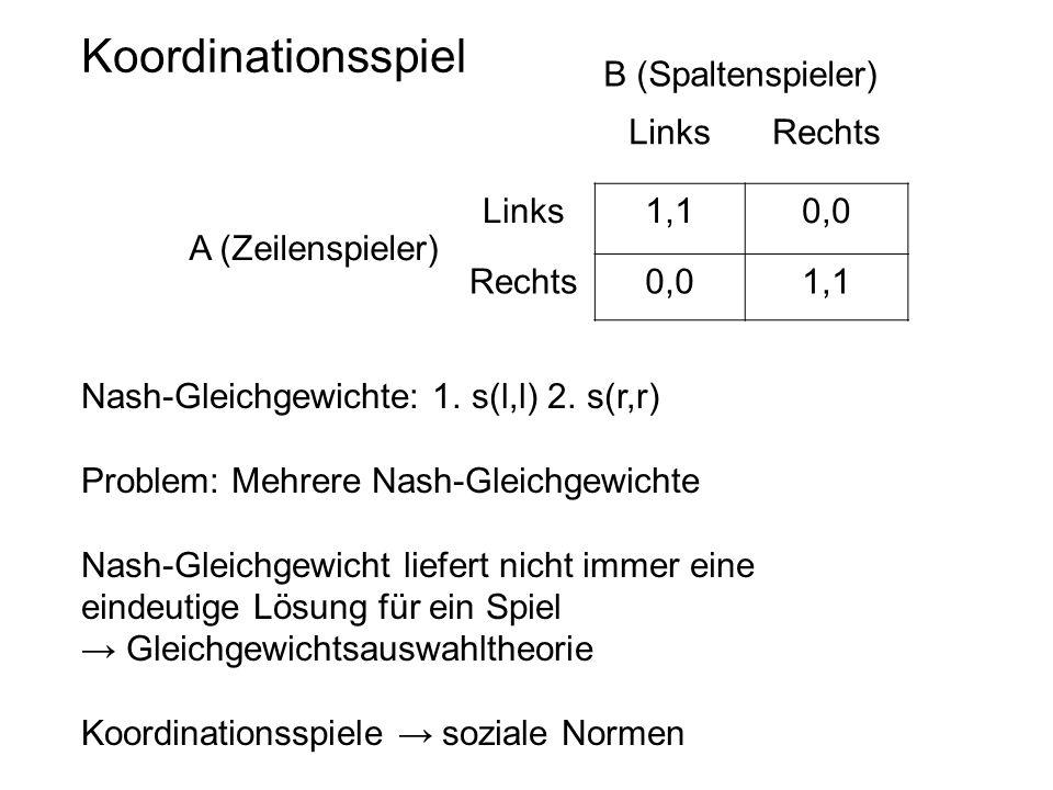 Koordinationsspiel B (Spaltenspieler) Links Rechts 1,1 0,0