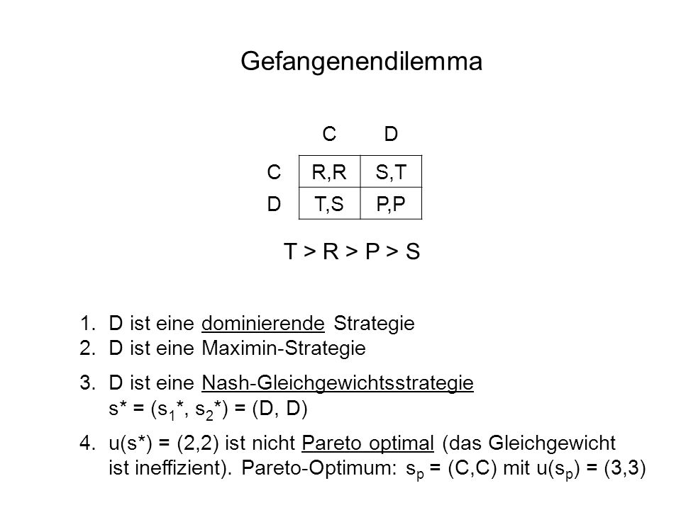 Gefangenendilemma T > R > P > S C D R,R S,T T,S P,P