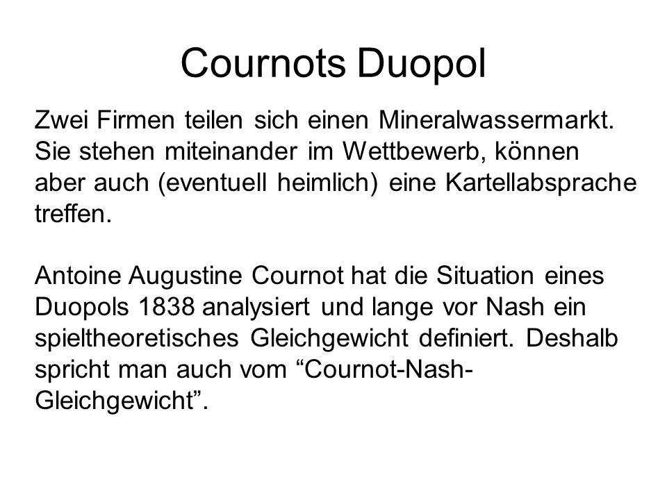 Cournots Duopol Zwei Firmen teilen sich einen Mineralwassermarkt.