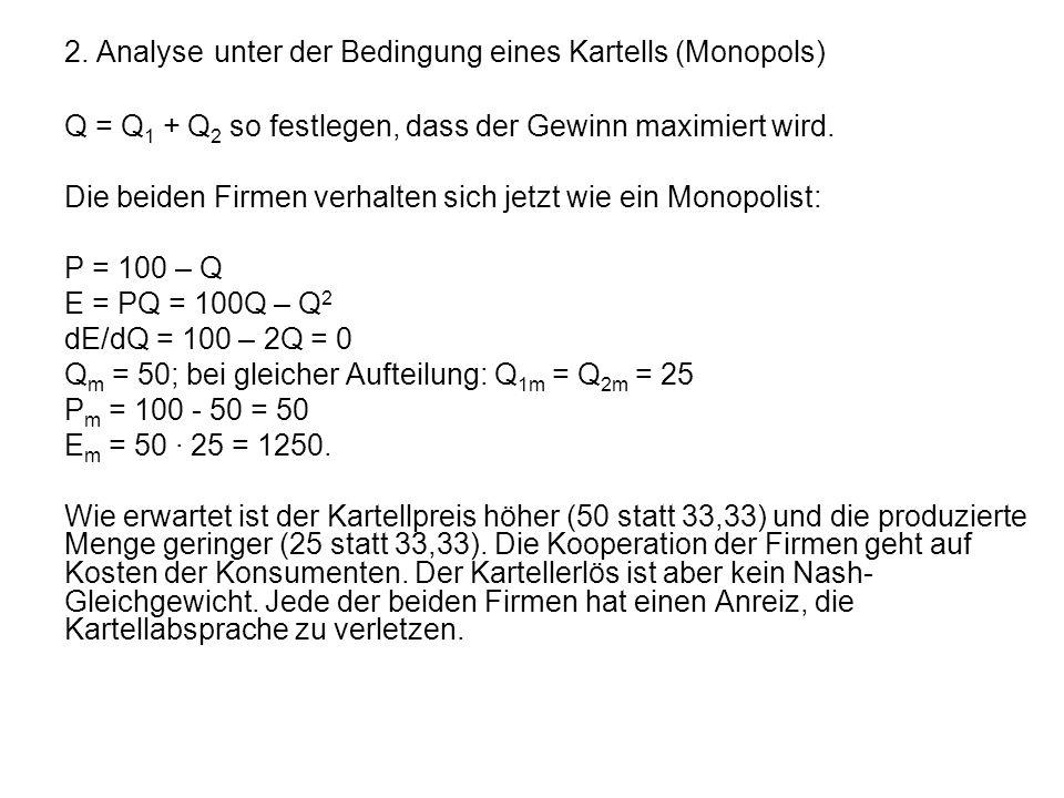 2. Analyse unter der Bedingung eines Kartells (Monopols)