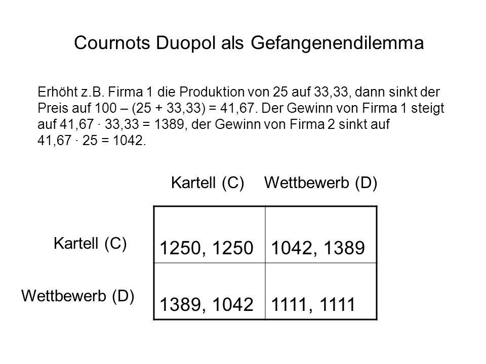 Cournots Duopol als Gefangenendilemma