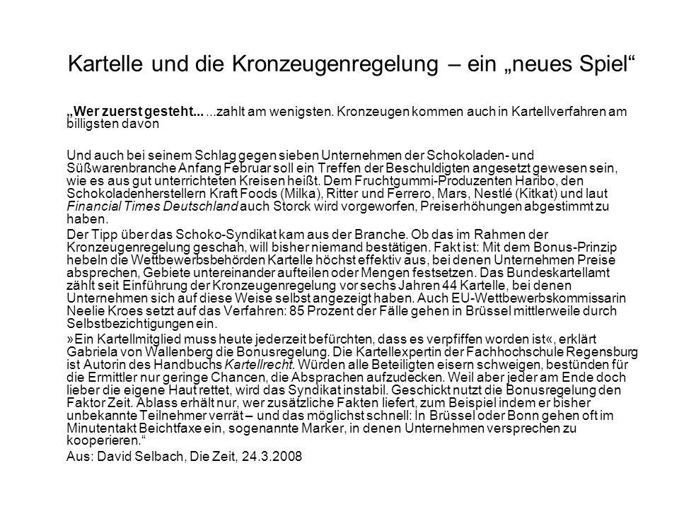 """Kartelle und die Kronzeugenregelung – ein """"neues Spiel"""