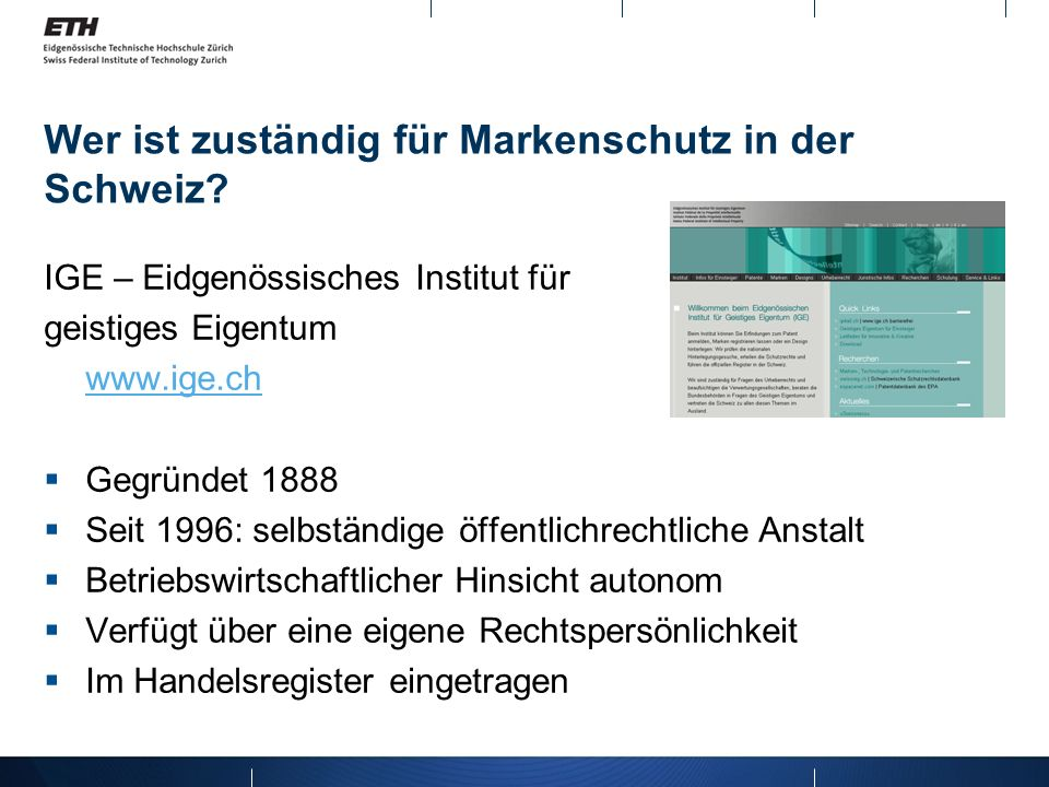 Wer ist zuständig für Markenschutz in der Schweiz