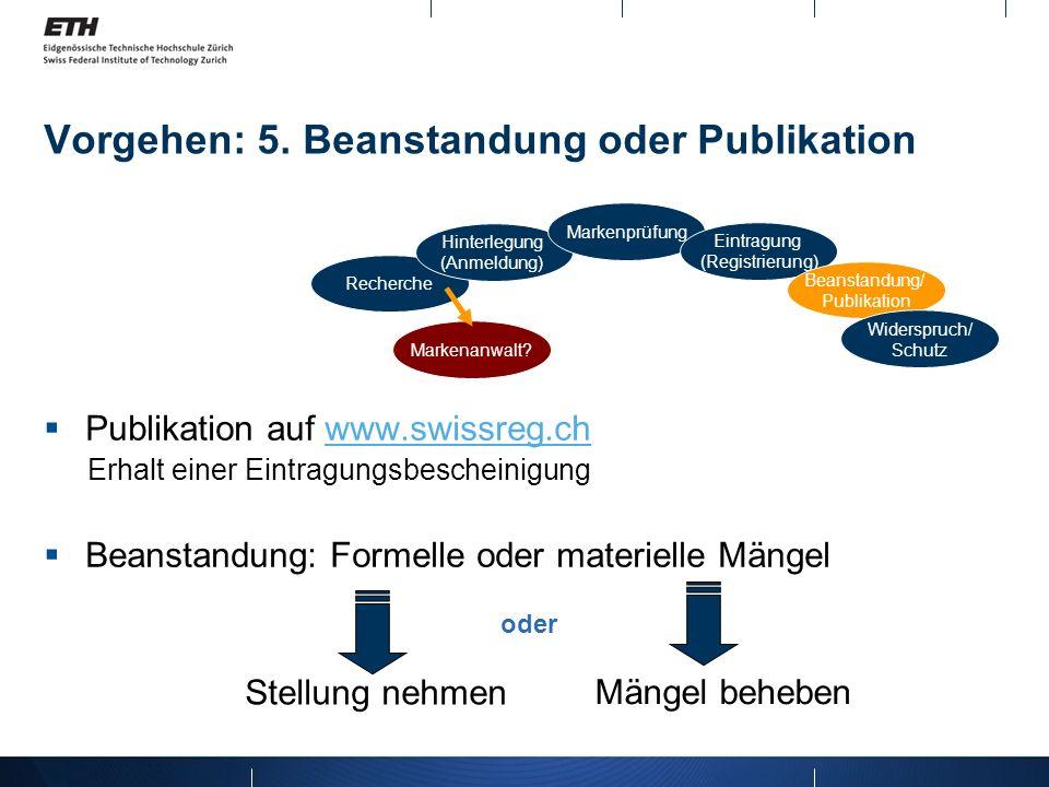 Vorgehen: 5. Beanstandung oder Publikation