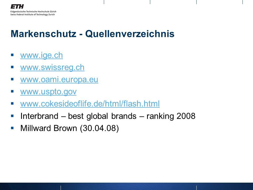 Markenschutz - Quellenverzeichnis