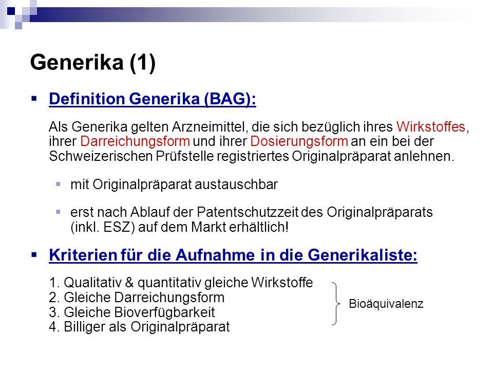 Generika (1) Definition Generika (BAG):
