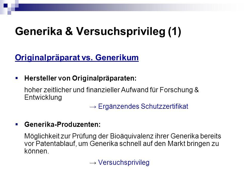 Generika & Versuchsprivileg (1)