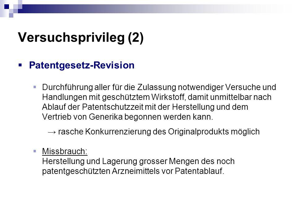 Versuchsprivileg (2) Patentgesetz-Revision