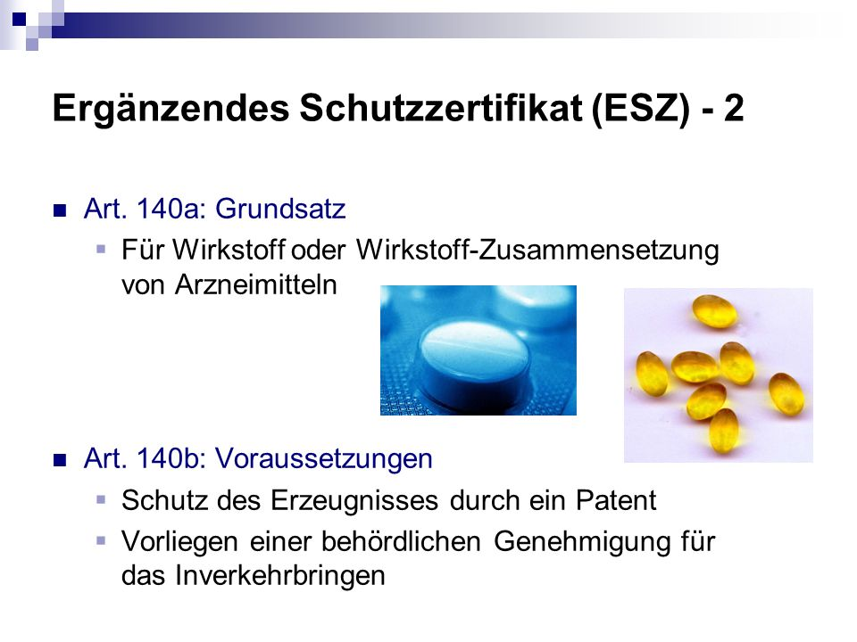 Ergänzendes Schutzzertifikat (ESZ) - 2