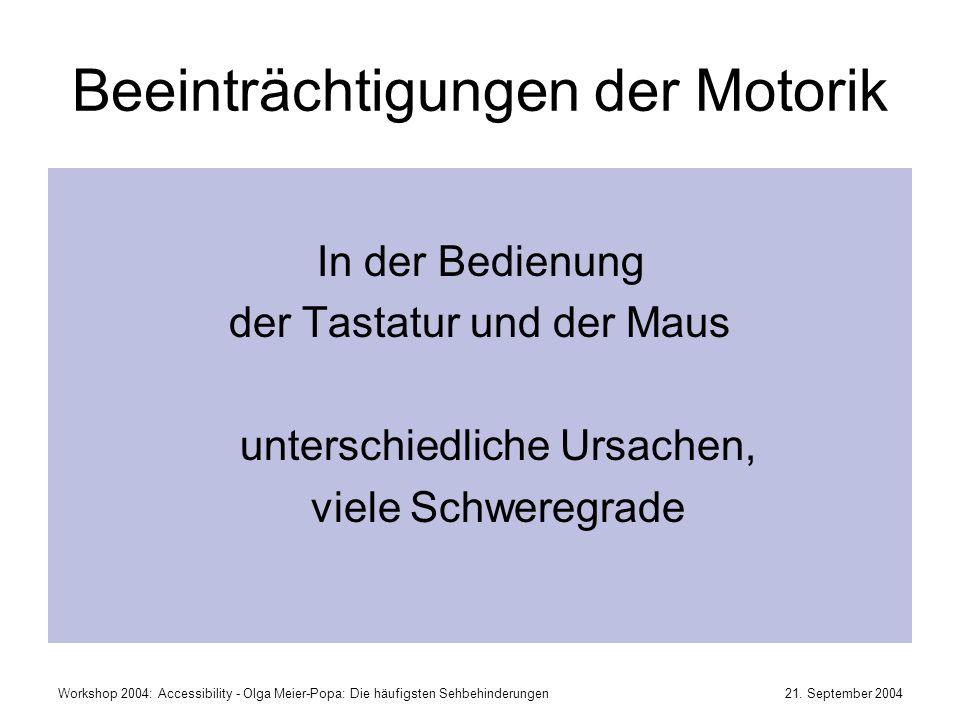 Beeinträchtigungen der Motorik