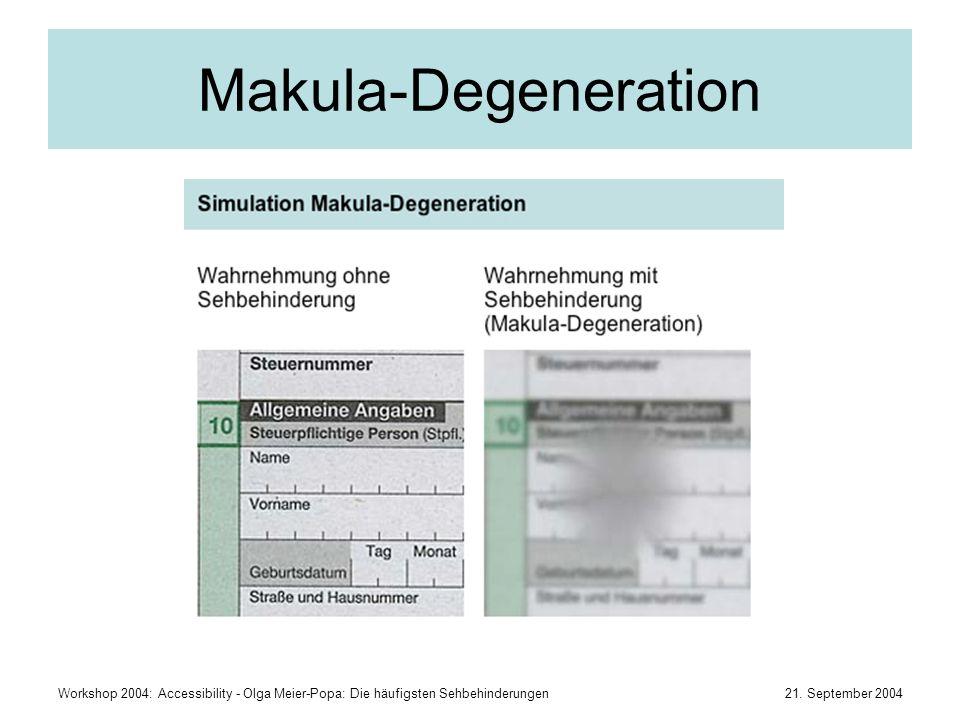Makula-Degeneration Workshop 2004: Accessibility - Olga Meier-Popa: Die häufigsten Sehbehinderungen.
