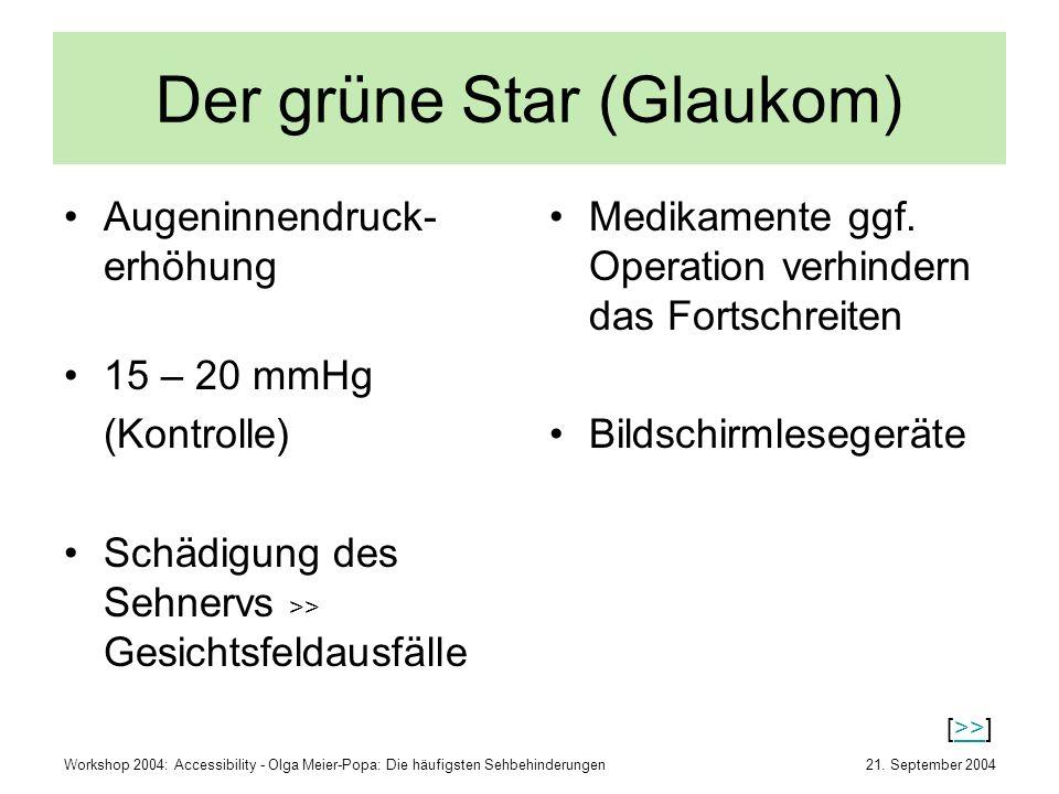 Der grüne Star (Glaukom)