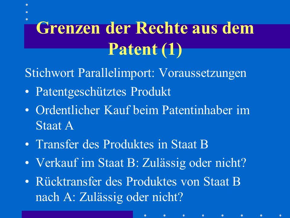 Grenzen der Rechte aus dem Patent (1)