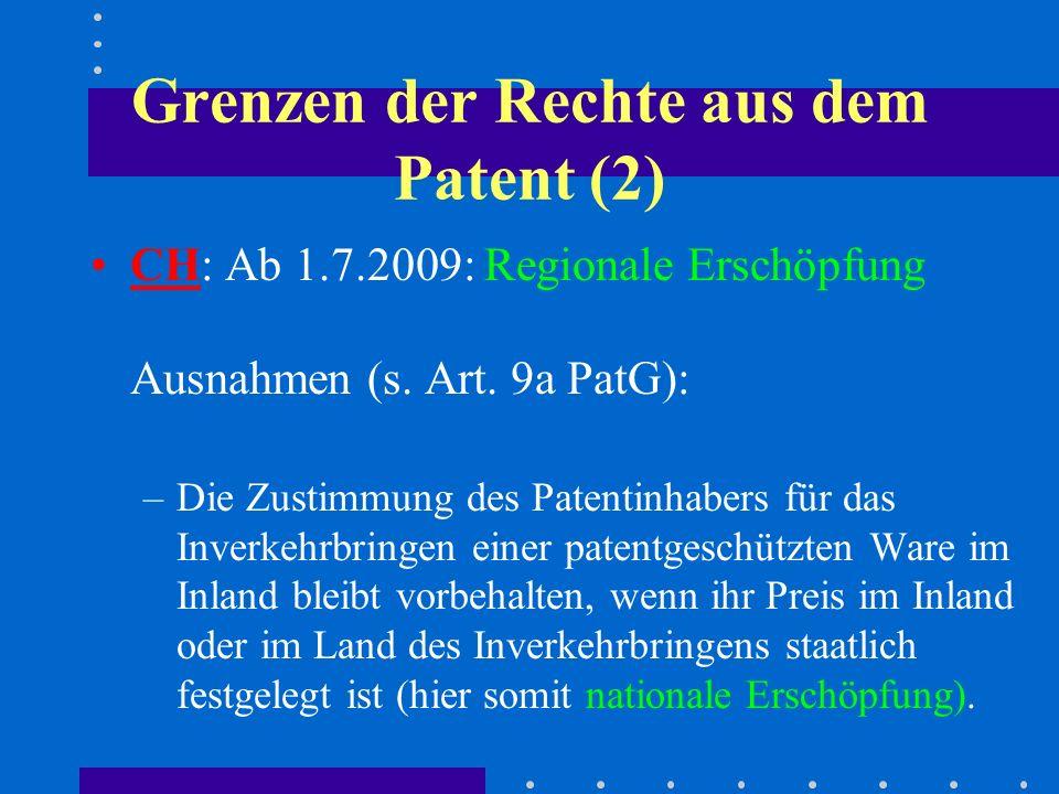 Grenzen der Rechte aus dem Patent (2)