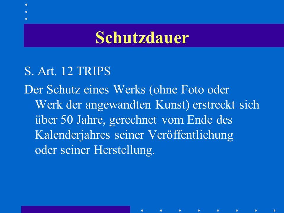 Schutzdauer S. Art. 12 TRIPS