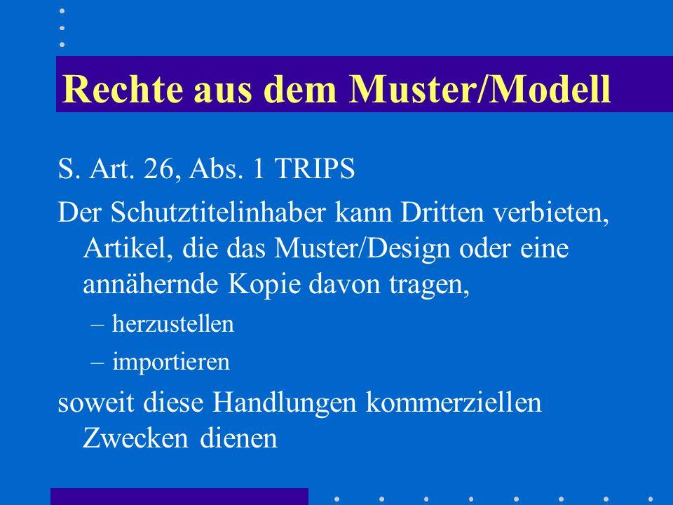 Rechte aus dem Muster/Modell