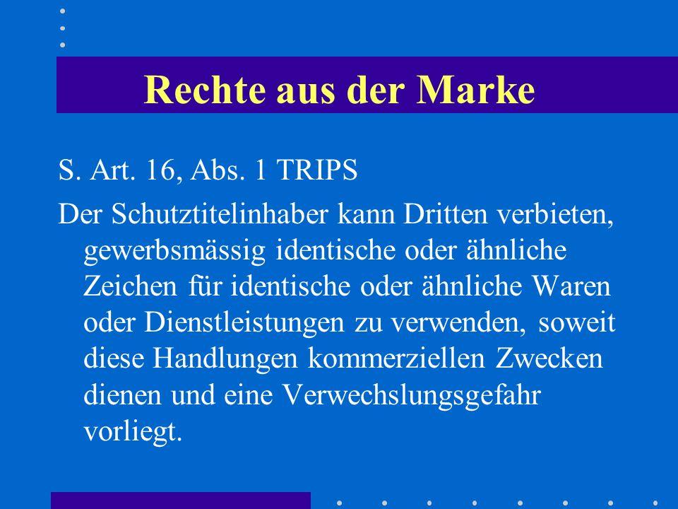 Rechte aus der Marke S. Art. 16, Abs. 1 TRIPS