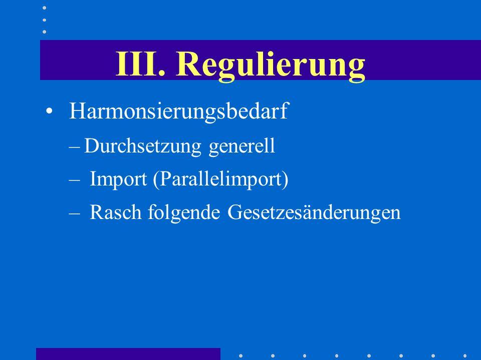 III. Regulierung Harmonsierungsbedarf Durchsetzung generell
