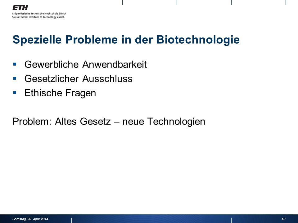Spezielle Probleme in der Biotechnologie