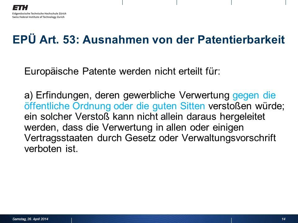 EPÜ Art. 53: Ausnahmen von der Patentierbarkeit
