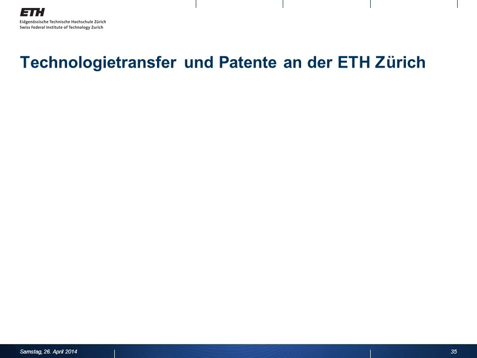 Technologietransfer und Patente an der ETH Zürich