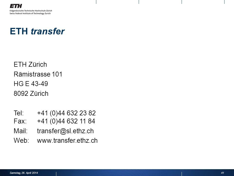 ETH transfer ETH Zürich Rämistrasse 101 HG E 43-49 8092 Zürich
