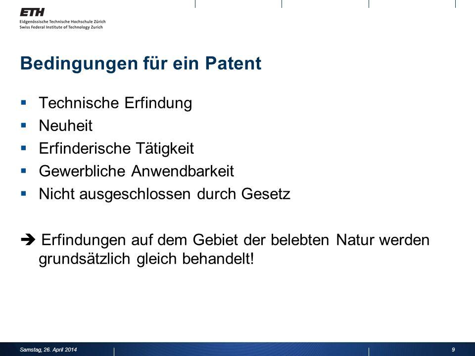 Bedingungen für ein Patent