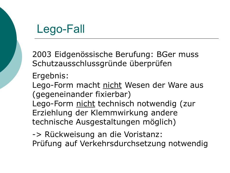 Lego-Fall 2003 Eidgenössische Berufung: BGer muss Schutzausschlussgründe überprüfen. Ergebnis: