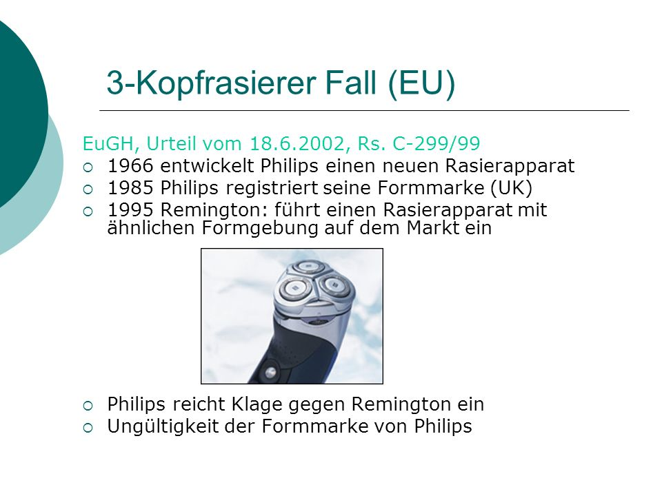 3-Kopfrasierer Fall (EU)