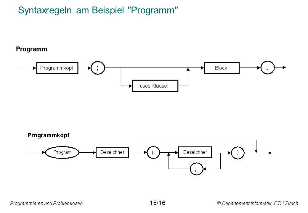 Syntaxregeln am Beispiel Programm