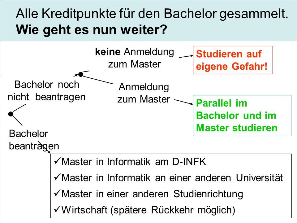 Alle Kreditpunkte für den Bachelor gesammelt. Wie geht es nun weiter